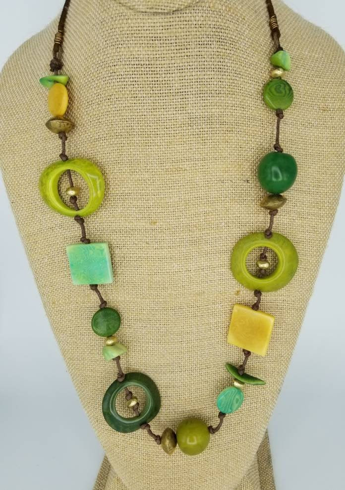Green and Gold Tagua Nut Necklace