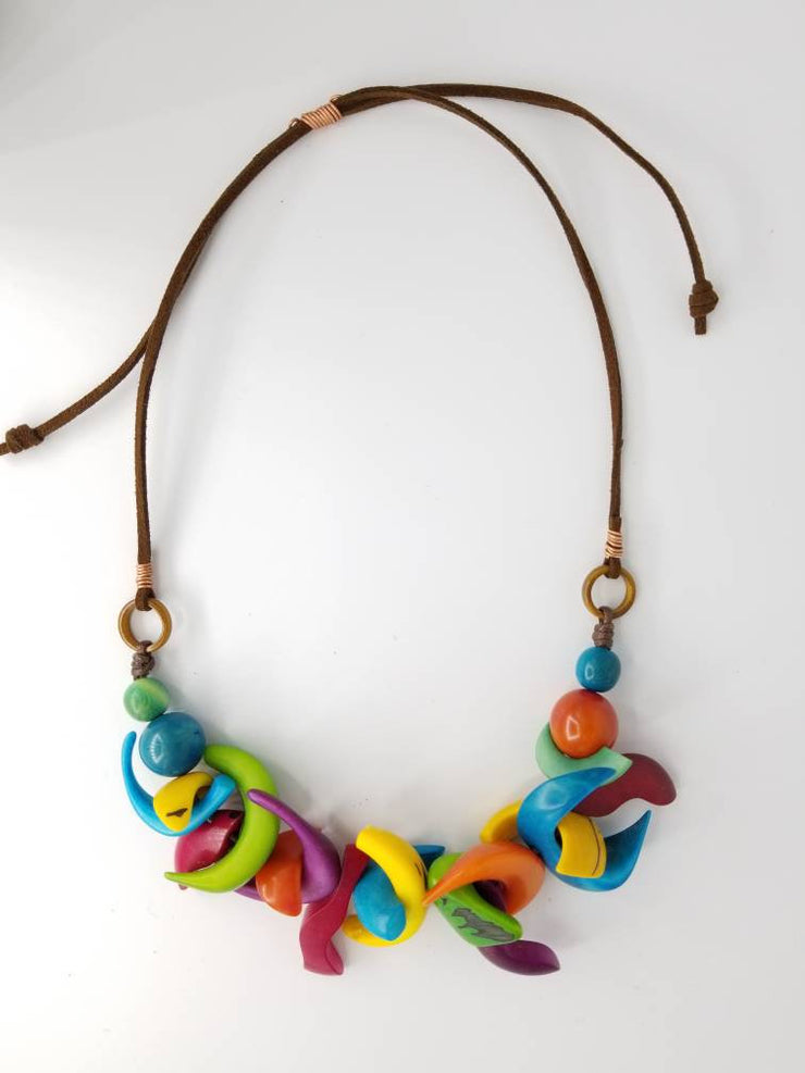 Rainbow Crazy Shapes Tagua Nut Necklace