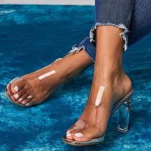 """CLEARLY"" HTB Transparent Open Toes Crystal Heel Sandal"