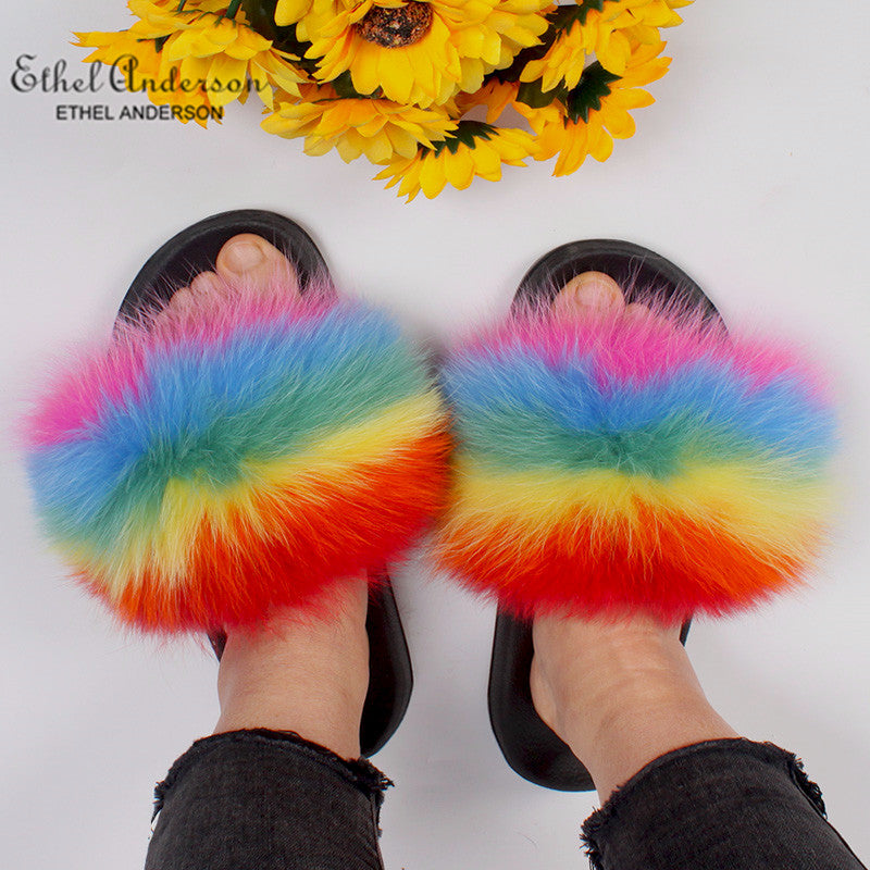 HTB LUCKY CHARMS Luxury Fur Slides (6.5-11)
