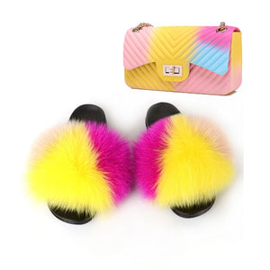 Plush Luxury Rainbow Furry Slippers & HTBag (7-11)