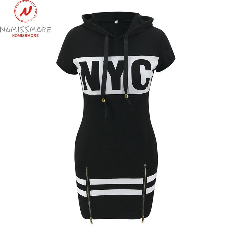"""N.Y.C"" HTBabe Hooded Zipper Dress (S-XL)"
