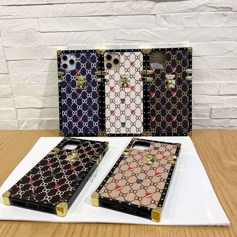 Fashion Square Leather Case For iphone