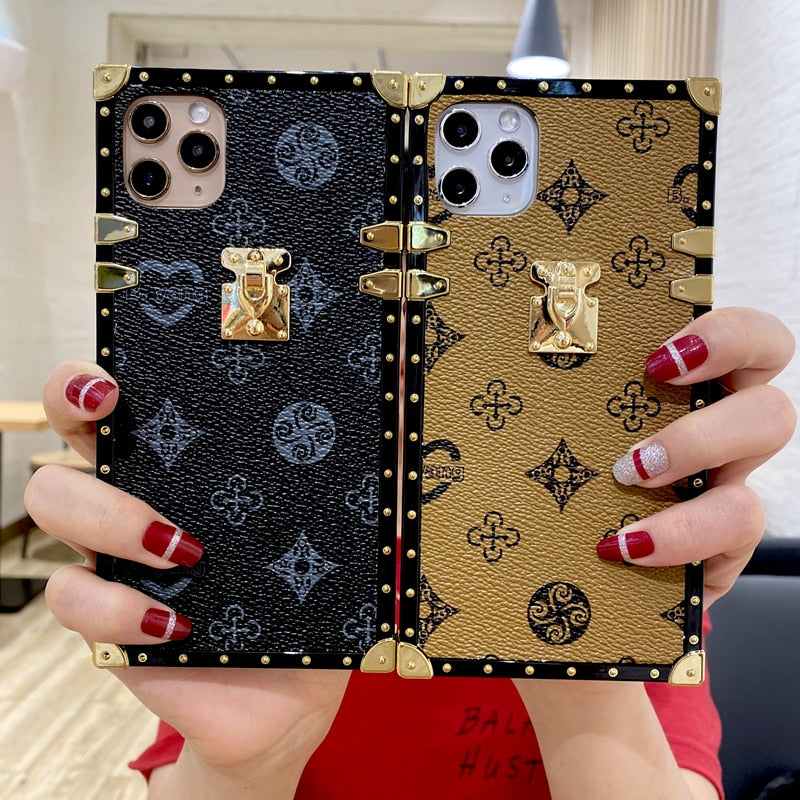 Luxury Square PU Leather Case For iphone
