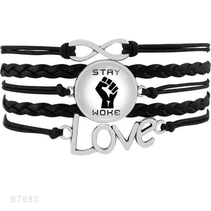 Infinity Love Multilayer Black Lives Matter Heart Leather