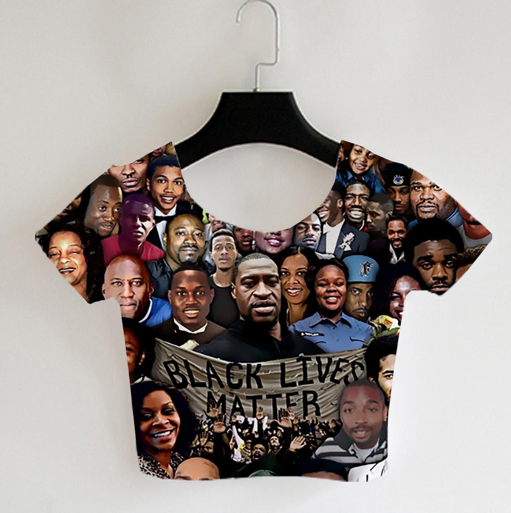 B.L.M Collage Print HTB Crop Top (S-5XL)