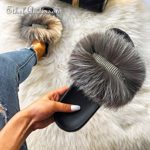 """BLACK, WHITE, SILVER"" HTB Icey Fox Fur Slippers (7-11.5)"
