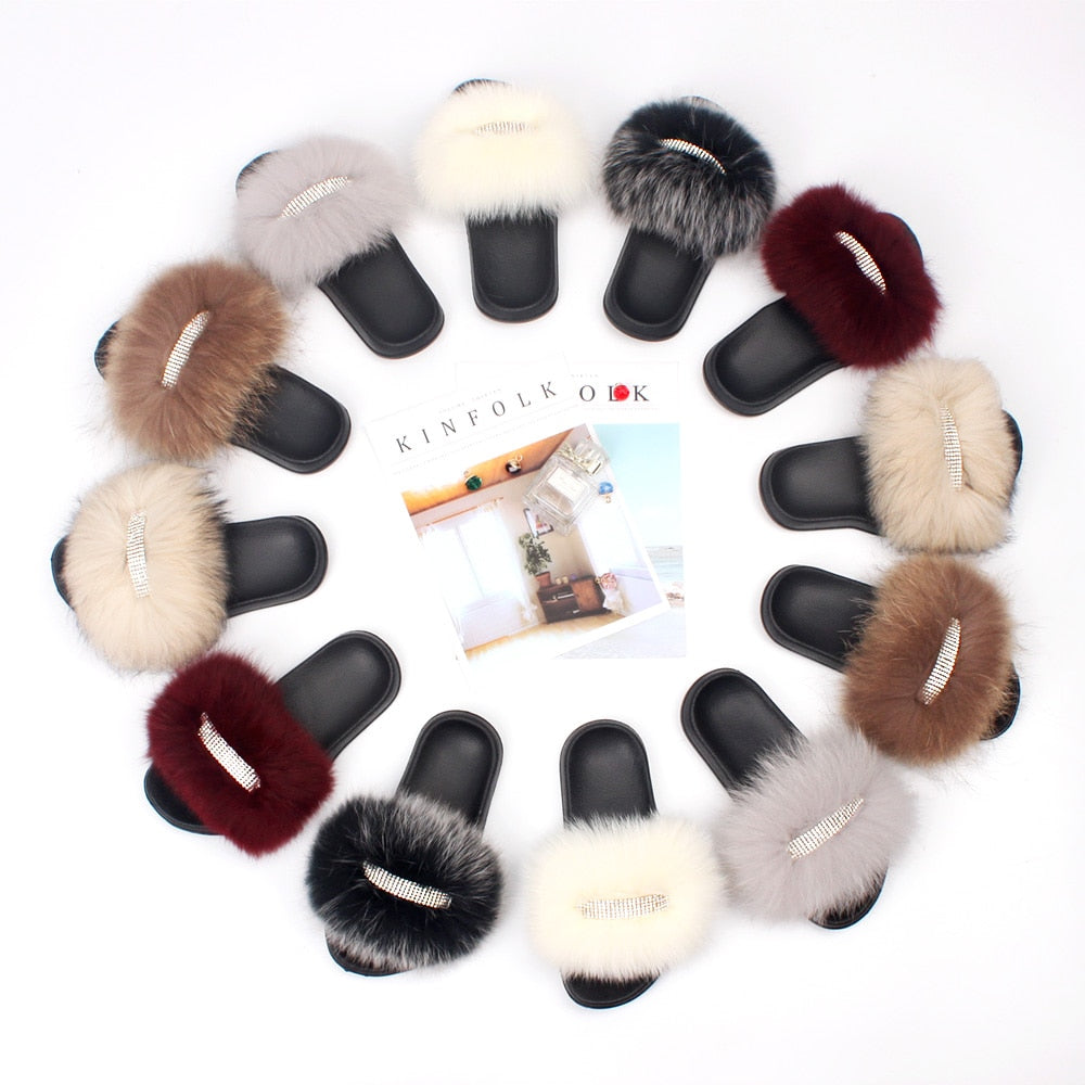 """MULTICOLORED"" HTB Icey Fox Fur Slippers (7-11.5)"