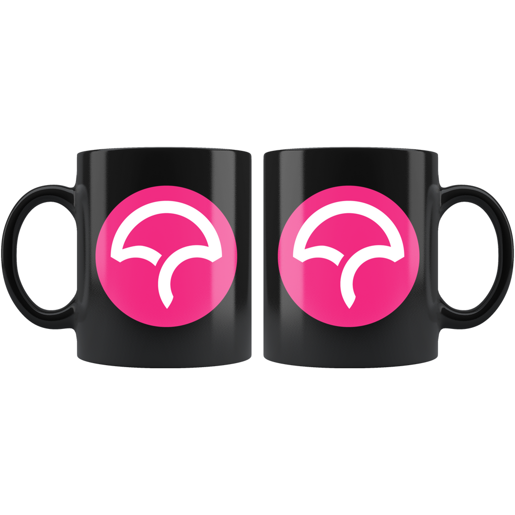 Black 11oz Mug - Icon in Pink Circle