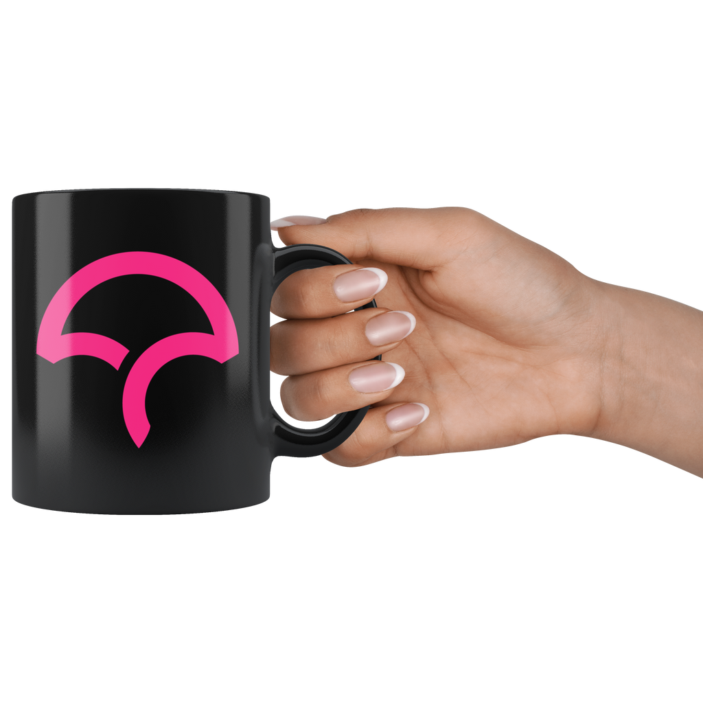 Black 11oz Mug - Icon - Pink