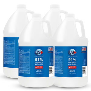 4 Gallons US+ 91% Isopropyl Alcohol Bulk (1 Gallon x 4) - USP - Highest Purity