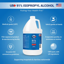 Load image into Gallery viewer, 1 Gallon US+ 91% Isopropyl Alcohol Bulk - USP/Medical Grade