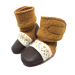 Wool Booties: Embroidered felted