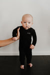 BABY LONG SLEEVE ROMPER - BLACK