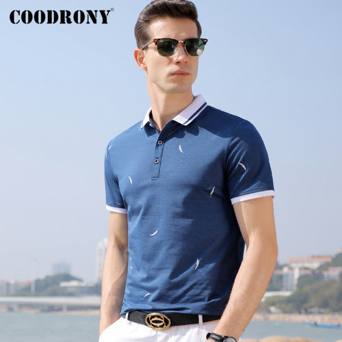 COODRONY Business Casual Turn-down Collar T Shirt Men Spring Summer Short Sleeve T-Shirt Fashion Pattern Tee Shirt Homme P5028S - Kourishop