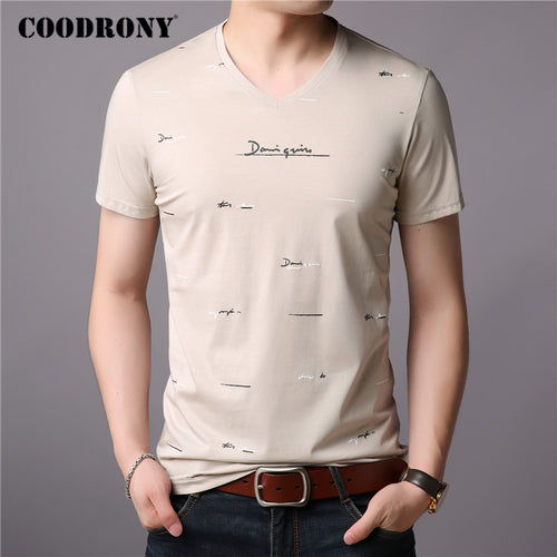 COODRONY Brand T Shirt Men Fashion Casual V-Neck T-Shirt Streetwear Mens Clothing 2020 Summer Soft Cotton Tee Shirt Homme C5074S - Kourishop