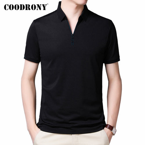 COODRONY 2020 Spring Summer Short Sleeve T Shirt Men Top Fashion Button Collar T-Shirt Men Clothes Cotton Tee Shirt Homme C5012S - Kourishop