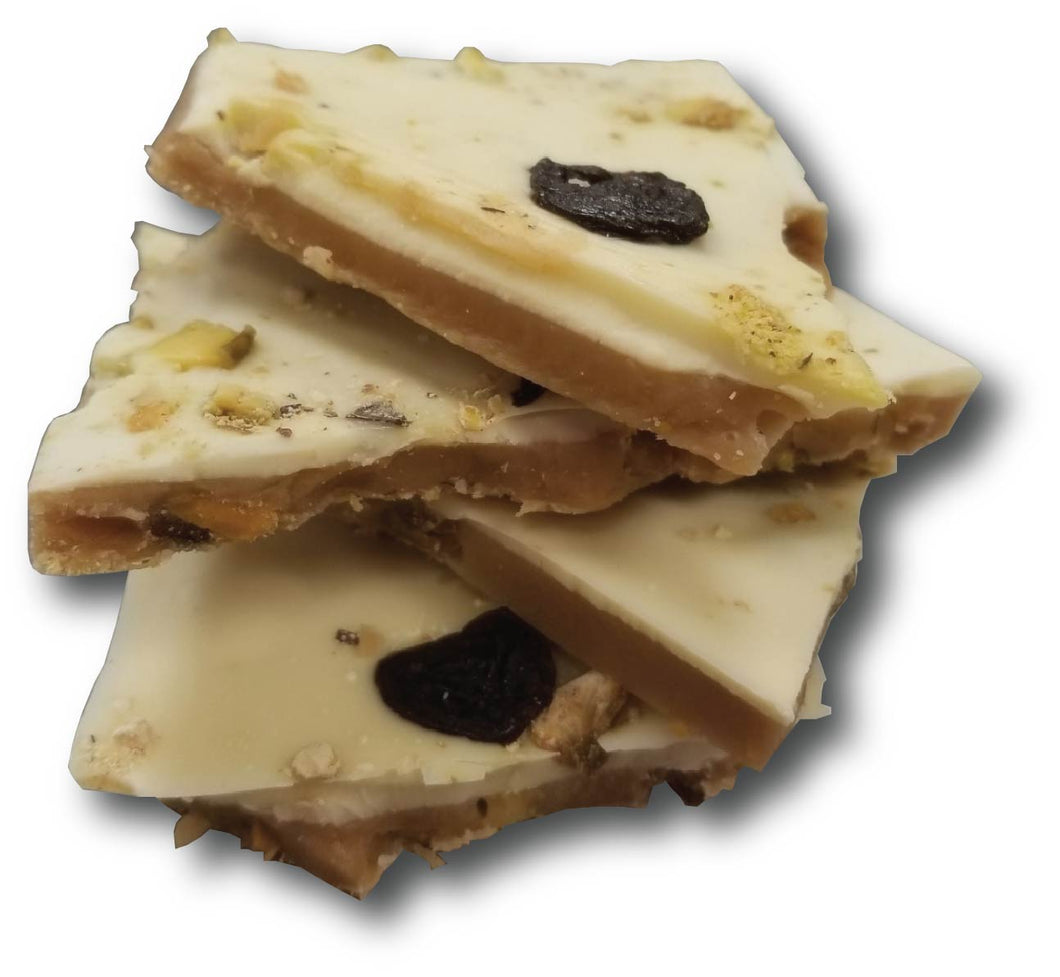 White Chocolate Cherry Pistachio Toffee