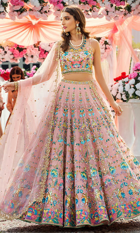 Cherubic Cream Colored Soft Net Lehenga Choli IS4942