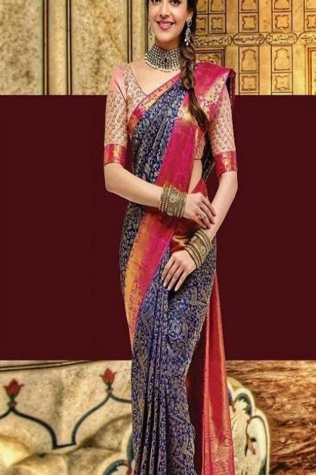 Awesome Blue And Red Colored Border Kattu Designer Soft Silk Saree IS2307