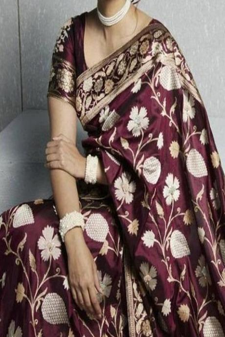 Supreme Dark Maroon Colored Soft Jacquard Silk Saree IS322