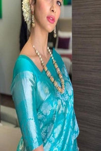 Adorning Blue Colored And Golden Patta Soft Silk Designer Saree IS2336