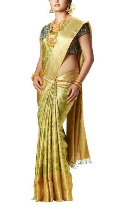 Adorning Golden Green Color Designer Heavy Saree IS516