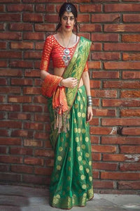 Chivalrous Green Colored Soft Art Silk Heavy Saree IS384
