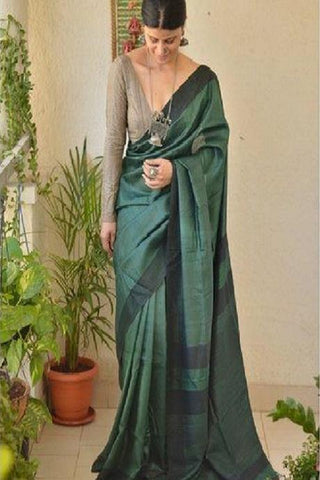 Amazing Pattu Pure Soft Silk Navy Green Colour Saree  IS1