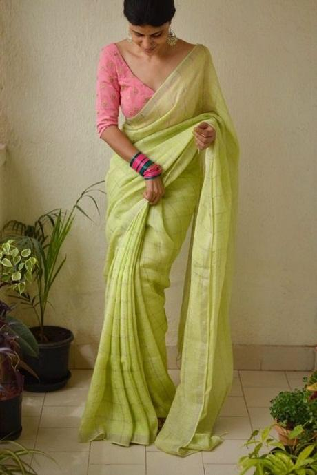 Dainty Perot Light Green Colored Soft Cotton Saree IS503