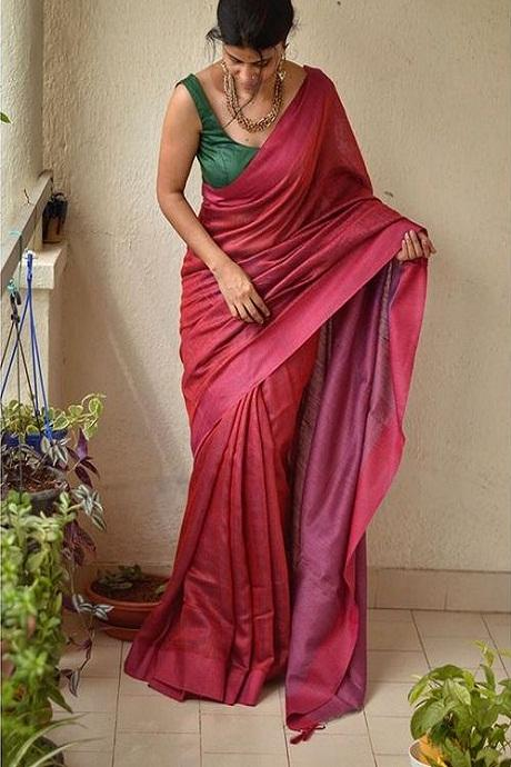 Amazing Maroon Color Designer Hand Weaving Soft Silk Saree IS2357