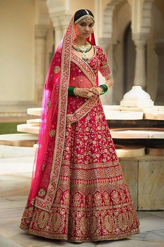 Atractive Style Red Fancy Lehenga Choli IS4862