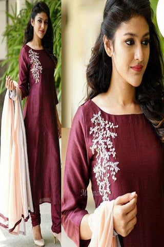 Fancy Wine Color Salwar Suit With Dupatta IS722