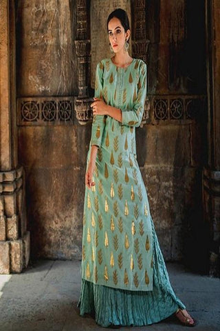 Designer Green Color Kurti With Palazzo Set IS729