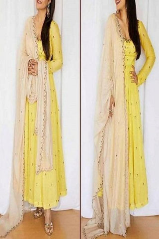 Designer Yellow Color Salwar Suit With Bottom Dupatta IS755