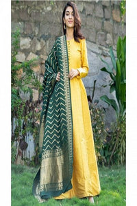 Eye Watering Yellow Color Suit with Nazneen Dupatta IS918