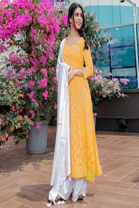 Eye Watering Yellow Color Suit with Nazneen Dupatta IS936