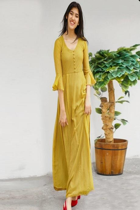 Gorgeous Yellow Color Suit With Bottom Dupatta IS1028