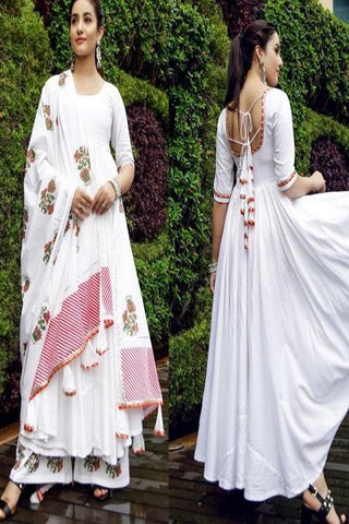 Beautiful White Color Long Suit With Printed Dupatta IS629
