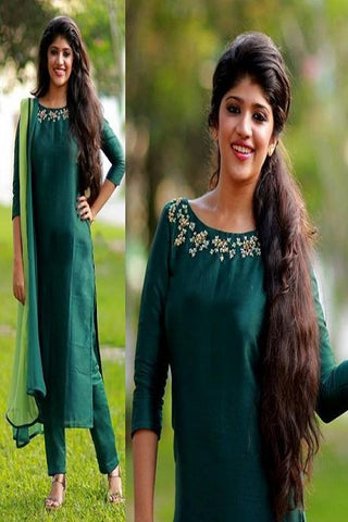 Beautiful Dark Green Color Heavy Salwar Suit IS653