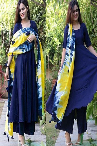 Gorgeous Royal Blue Color Kurti With Digital Print Dupatta IS660