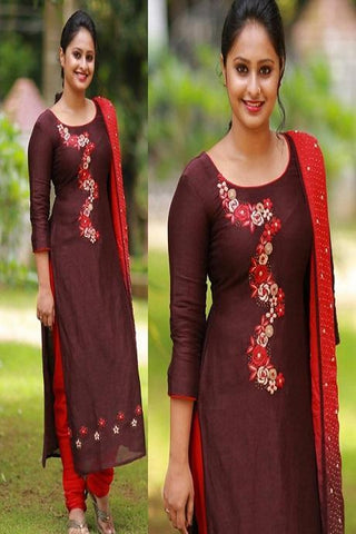 Traditional Maroon Color Cotton Suit With Dupatta IS677