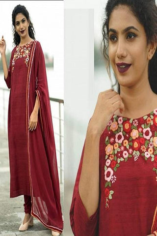Beautiful Red Color Suit With Digital Print Dupatta N Bottom IS687
