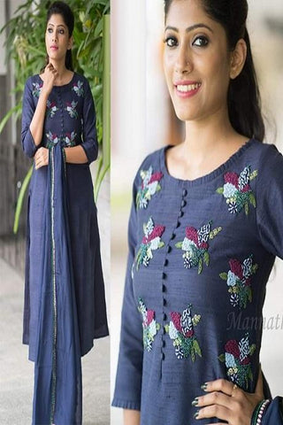 Fancy Dark Blue Color Fancy Kurti Salwar IS710