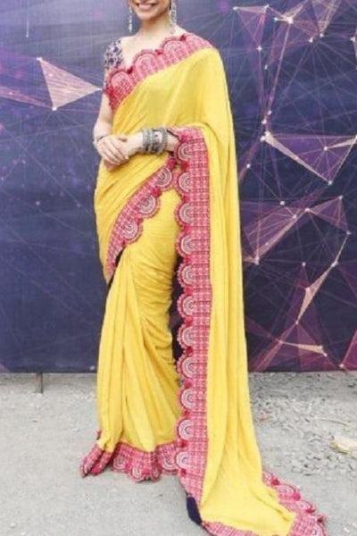 Party Wear Yellow Color Georgette Patta Saree IS1631