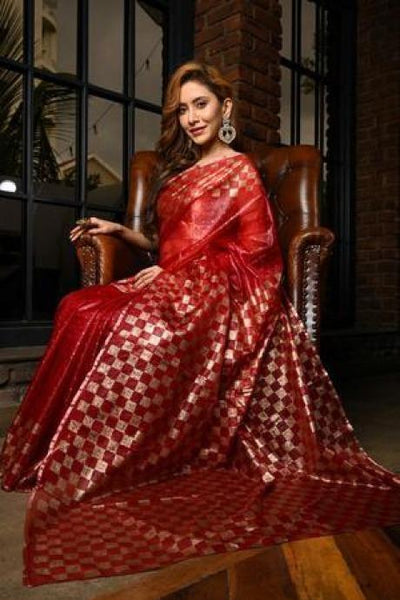 Maroon Shade Organza Silk Hand Block Print Saree With Blouse IS1284