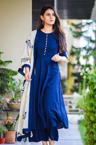 Rounded Royal Blue Color kurti bottom and dupatta sets IS1386