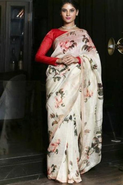 Exclusive White Shade Printed Handwoven Silk Linen Saree with Blouse IS878