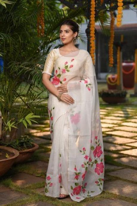Woven White Shade Hand Painted Pure Organza Silk Saree With Blouse IS992