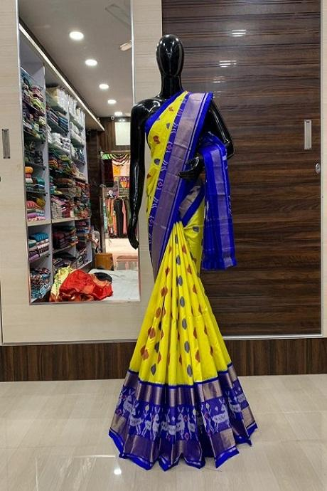 Georgette Yellow Embroidered Art Silk Saree IS568